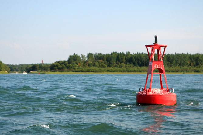 Red buoy in the St. Lawrence Seaway
