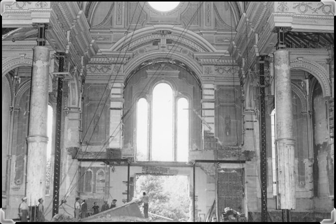 Men taking apart the vault of Nicolet Cathedral in 1955.